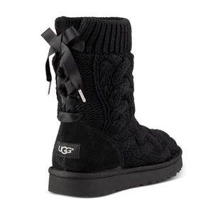 Ugg Isla Bow Black Knit Boots